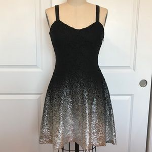 Free People Black & Silver Ombré Foil Lace Dress